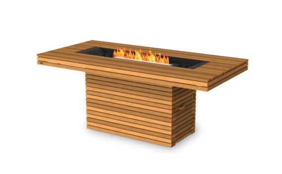 Gin 90 (Bar) Fire Table - Ethanol - Black / Teak by EcoSmart Fire