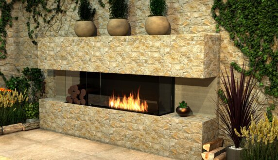 Outdoor Setting - Flex 86BY.BXL Fireplace Insert by EcoSmart Fire