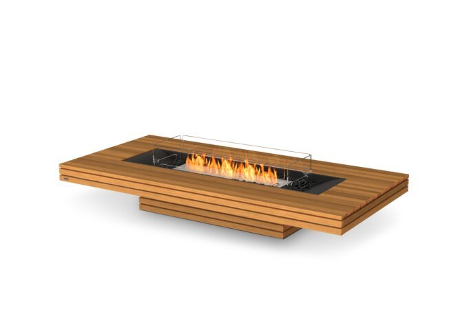 Gin 90 (Low) Fire Table - Ethanol / Teak / Optional Fire Screen by EcoSmart Fire