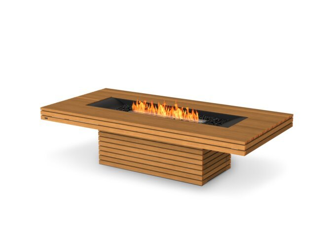Gin 90 (Chat) Fire Table - Ethanol / Teak by EcoSmart Fire