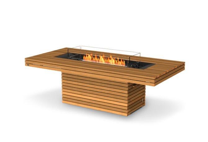 Gin 90 (Dining) Fire Table - Ethanol - Black / Teak / Optional Fire Screen by EcoSmart Fire