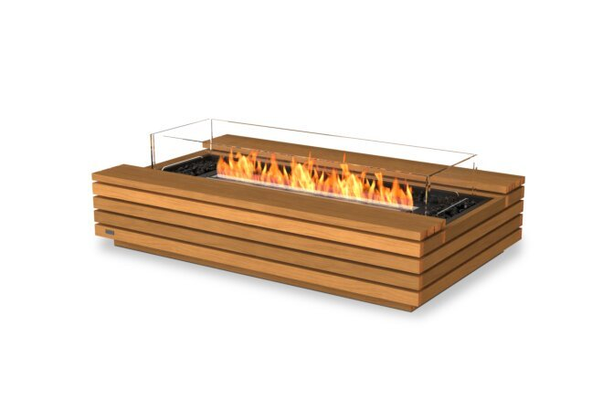Cosmo 50 Fire Table - Ethanol - Black / Teak / Optional Fire Screen by EcoSmart Fire