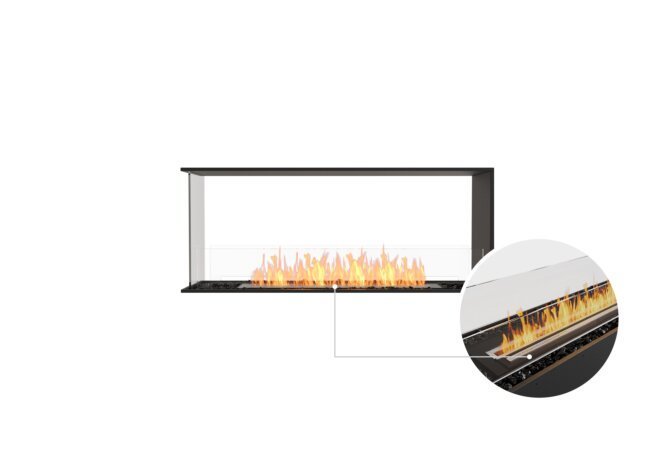Flex 50PN Peninsula - Ethanol - Black / Black / Installed View by EcoSmart Fire