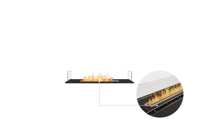 Flex 42BN Bench - Ethanol - Black / Black / Installed View by EcoSmart Fire