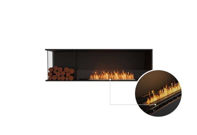 Flex 68LC.BXL Left Corner - Ethanol - Black / Black / Installed View by EcoSmart Fire