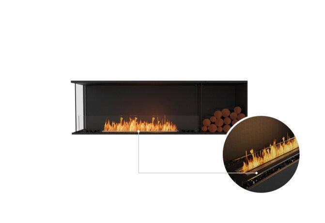 Flex 68LC.BXR Left Corner - Ethanol - Black / Black / Installed View by EcoSmart Fire