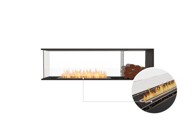 Flex 68PN.BXR Peninsula - Ethanol - Black / Black / Installed View by EcoSmart Fire