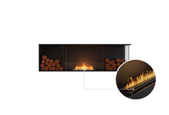 Flex 68RC.BX2 Right Corner - Ethanol - Black / Black / Installed View by EcoSmart Fire