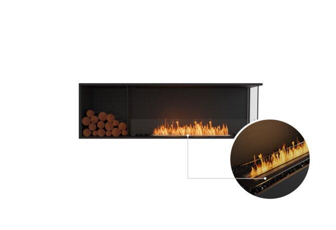 Flex 68RC.BXL Right Corner - Ethanol - Black / Black / Installed View by EcoSmart Fire