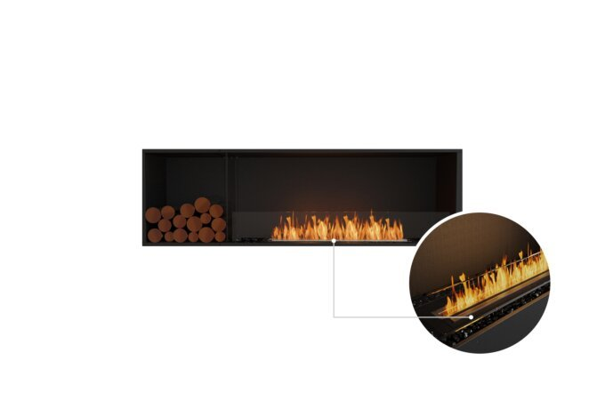 Flex 68SS.BXL Single Sided - Ethanol - Black / Black / Installed View by EcoSmart Fire