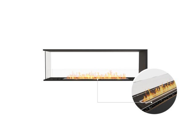 Flex 68PN Peninsula - Ethanol - Black / Black / Installed View by EcoSmart Fire