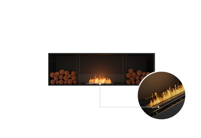 Flex 68SS.BX2 Single Sided - Ethanol - Black / Black / Installed View by EcoSmart Fire