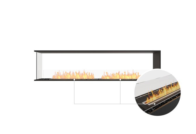 Flex 86PN Peninsula - Ethanol - Black / Black / Installed View by EcoSmart Fire