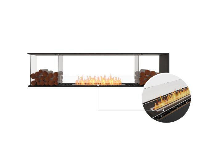 Flex 86PN.BX2 Peninsula - Ethanol - Black / Black / Installed View by EcoSmart Fire