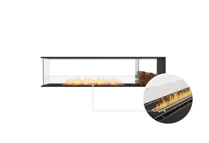 Flex 86PN.BXR Peninsula - Ethanol - Black / Black / Installed View by EcoSmart Fire