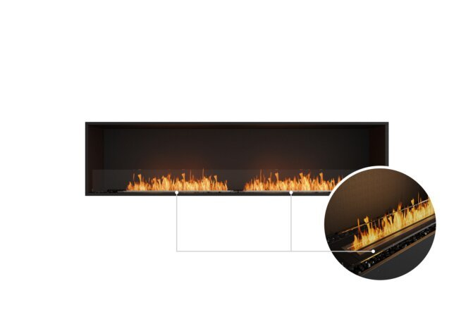 Flex 86SS Single Sided - Ethanol - Black / Black / Installed View by EcoSmart Fire