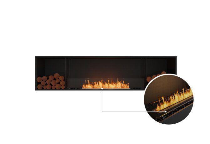 Flex 86SS.BX2 Single Sided - Ethanol - Black / Black / Installed View by EcoSmart Fire