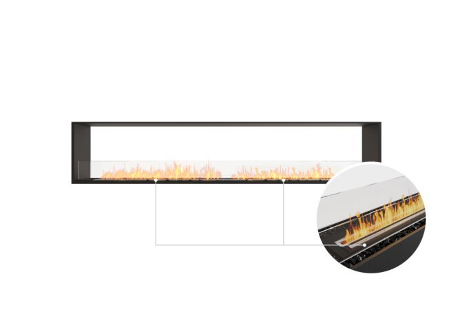 Flex 104DB Double Sided - Ethanol - Black / Black / Installed View by EcoSmart Fire