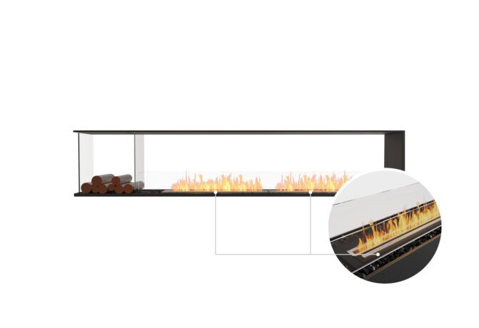 Flex 104PN.BXL Peninsula - Ethanol - Black / Black / Installed View by EcoSmart Fire