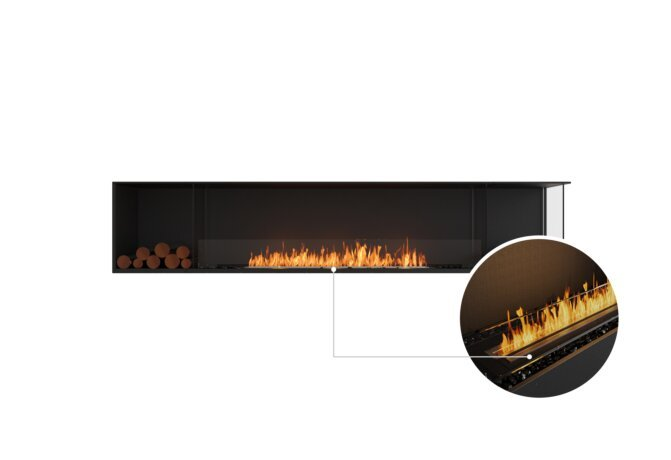 Flex 104RC.BX2 Right Corner - Ethanol - Black / Black / Installed View by EcoSmart Fire