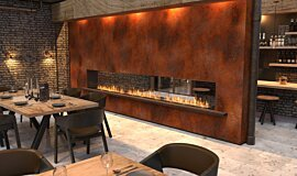 Restaurant Setting Double Sided Fireboxes Built-In Fire Idea