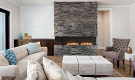 Lounge Room Indoor Fireplaces Built-In Fire Idea