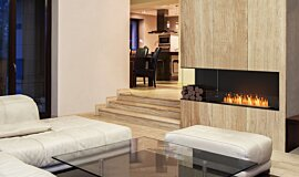 Living Area Indoor Fireplaces Built-In Fire Idea