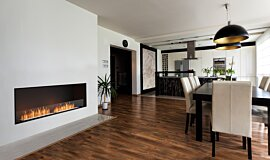 Dining Area Indoor Fireplaces Built-In Fire Idea