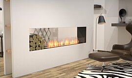 Living Area Double Sided Fireboxes Built-In Fire Idea