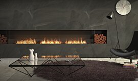 Living Room Indoor Fireplaces Built-In Fire Idea