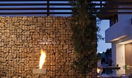 New American Home  Outdoor Fireplaces Freestanding Fire Idea