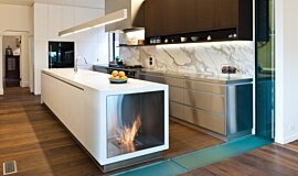 Celebrity Chef's Kitchen Indoor Fireplaces Built-In Fire Idea
