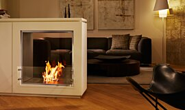 Merkmal Showroom Double Sided Fireboxes BK Burners Fireplace Insert Idea