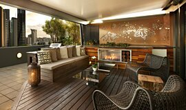 Private Balcony Apartment Fireplaces Built-In Fire Idea