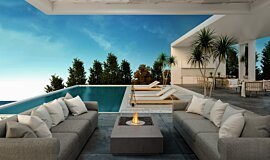 Poolside Fluid Concrete Technology Fire Table Idea