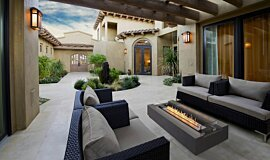 Courtyard Freestanding Fireplaces Fire Table Idea