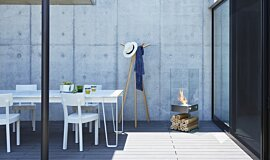 Private Residence Courtyard Freestanding Fireplaces Designer Fireplace Idea