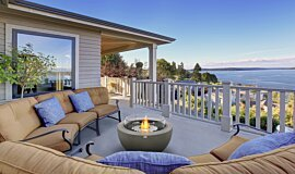 Outdoor Balcony Freestanding Fireplaces Fire Table Idea
