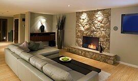 Lounge Room Linear Fires Flex Fireplace Idea