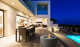 Outdoor Deck Freestanding Fireplaces Fire Table Idea