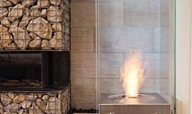 New American Home Freestanding Fireplaces Designer Fireplace Idea