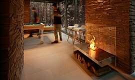 Commercial Space Freestanding Fireplaces Designer Fireplace Idea