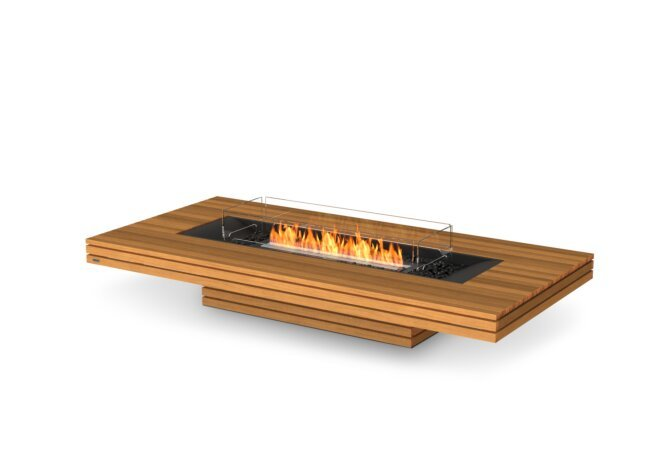 Gin 90 (Low) Fire Table - Ethanol - Black / Teak / Optional Fire Screen by EcoSmart Fire