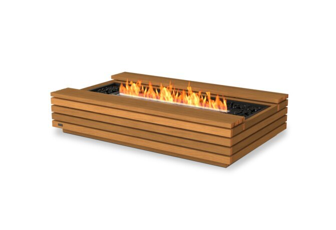 Cosmo 50 Fire Table - Ethanol - Black / Teak by EcoSmart Fire