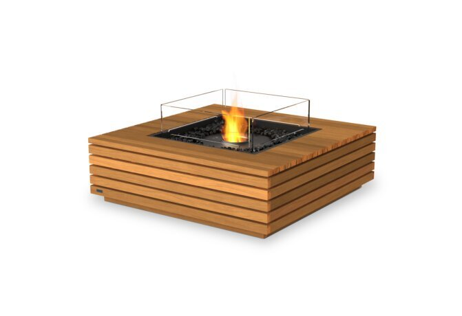Base 40 Fire Table - Ethanol - Black / Teak / Optional Fire Screen by EcoSmart Fire